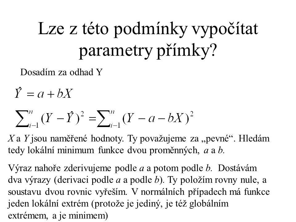 """Lze z této podmínky vypočítat parametry přímky? Dosadím za odhad Y X a Y jsou naměřené hodnoty. Ty považujeme za """"pevné"""". Hledám tedy lokální minimum"""