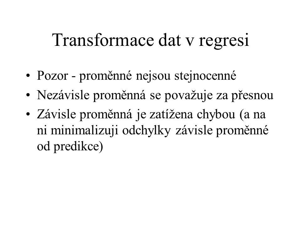 Transformace dat v regresi Pozor - proměnné nejsou stejnocenné Nezávisle proměnná se považuje za přesnou Závisle proměnná je zatížena chybou (a na ni