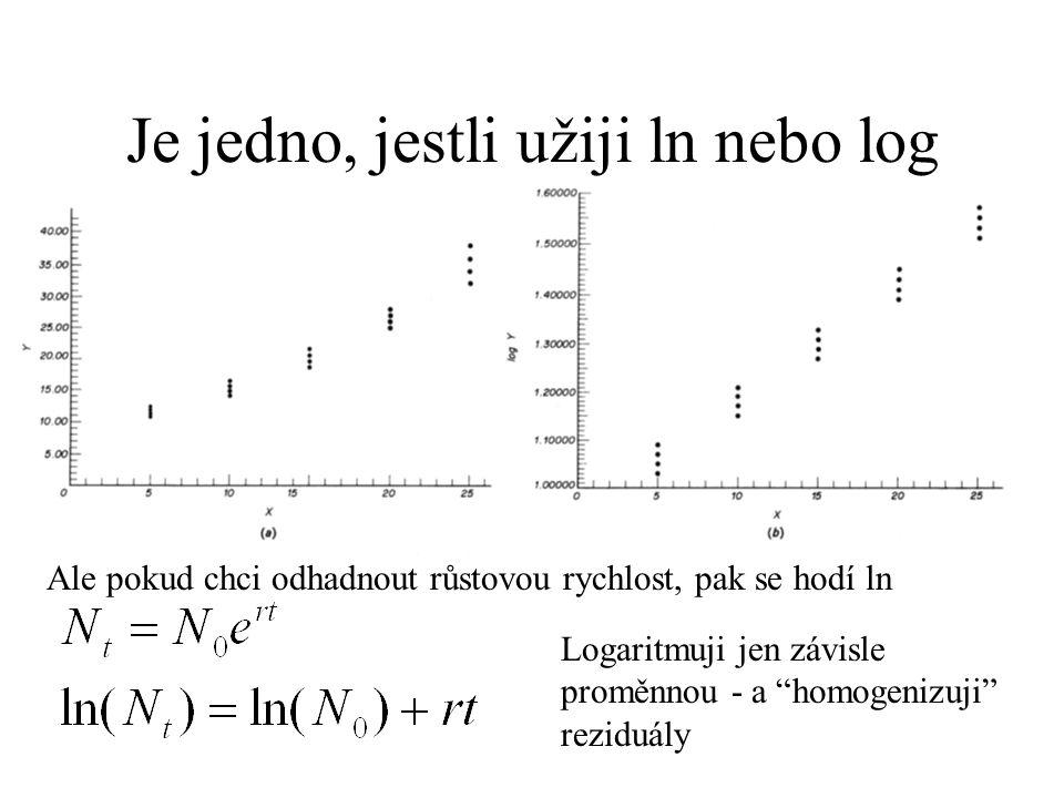 """Je jedno, jestli užiji ln nebo log Ale pokud chci odhadnout růstovou rychlost, pak se hodí ln Logaritmuji jen závisle proměnnou - a """"homogenizuji"""" rez"""