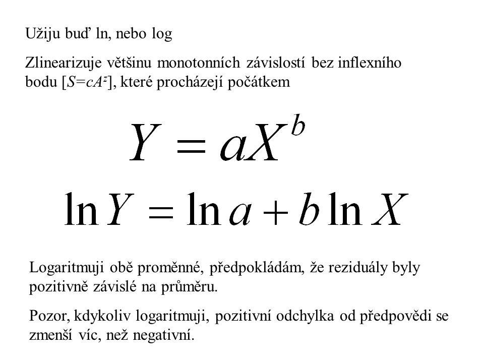 Užiju buď ln, nebo log Zlinearizuje většinu monotonních závislostí bez inflexního bodu [S=cA z ], které procházejí počátkem Logaritmuji obě proměnné,