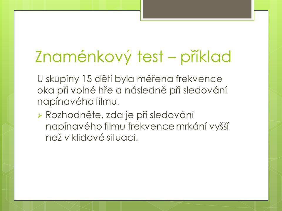 Znaménkový test – příklad U skupiny 15 dětí byla měřena frekvence oka při volné hře a následně při sledování napínavého filmu.  Rozhodněte, zda je př