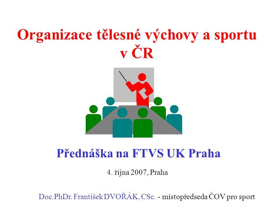 Organizace tělesné výchovy a sportu v ČR Přednáška na FTVS UK Praha Doc.PhDr. František DVOŘÁK, CSc. - místopředseda ČOV pro sport 4. října 2007, Prah
