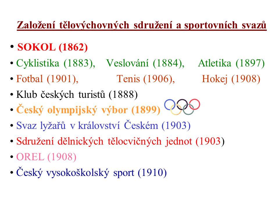 Založení tělovýchovných sdružení a sportovních svazů SOKOL (1862) Cyklistika (1883), Veslování (1884), Atletika (1897) Fotbal (1901), Tenis (1906), Hokej (1908) Klub českých turistů (1888) Český olympijský výbor (1899) Svaz lyžařů v království Českém (1903) Sdružení dělnických tělocvičných jednot (1903) OREL (1908) Český vysokoškolský sport (1910)