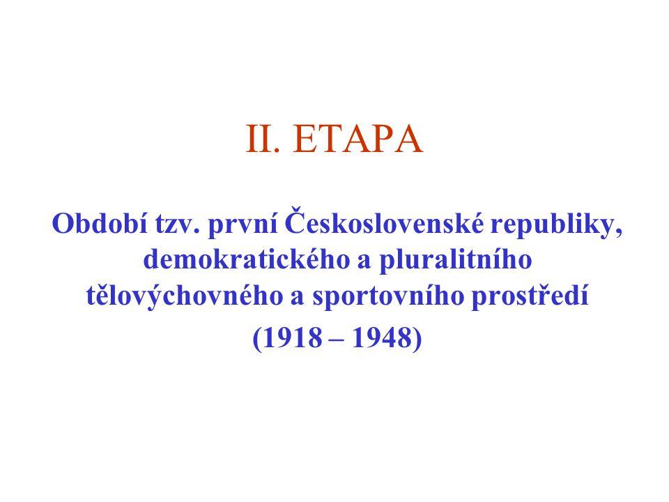 II. ETAPA Období tzv. první Československé republiky, demokratického a pluralitního tělovýchovného a sportovního prostředí (1918 – 1948)
