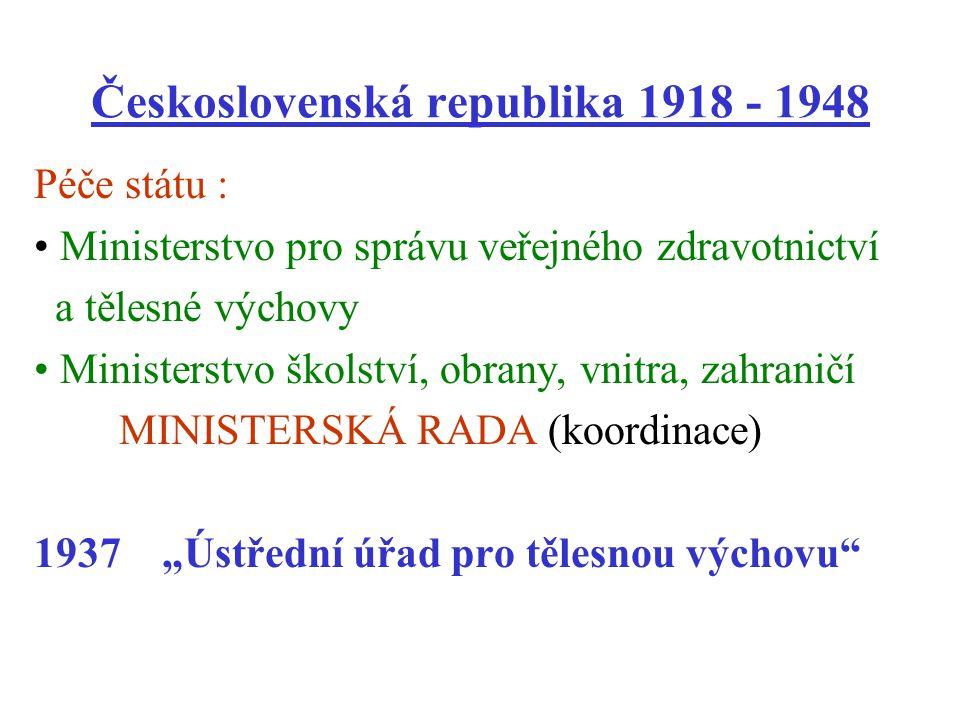 Československá republika 1918 - 1948 Péče státu : Ministerstvo pro správu veřejného zdravotnictví a tělesné výchovy Ministerstvo školství, obrany, vni