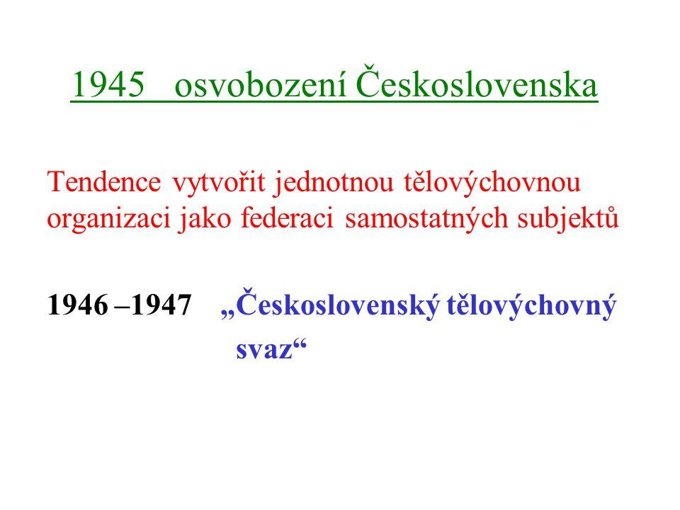 """1945 osvobození Československa Tendence vytvořit jednotnou tělovýchovnou organizaci jako federaci samostatných subjektů 1946 –1947 """"Československý tělovýchovný svaz"""