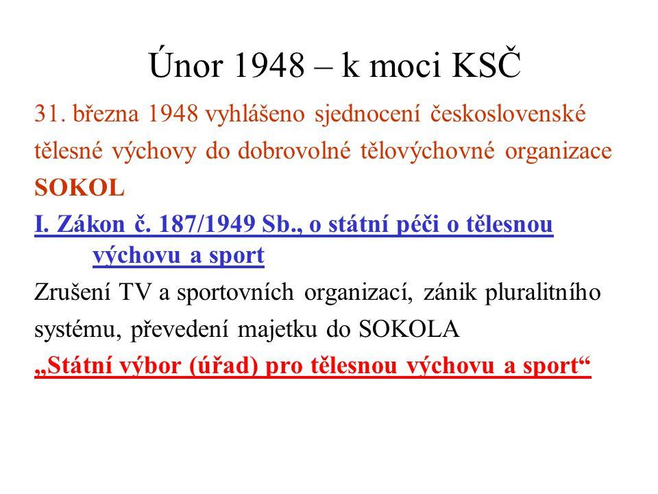 Únor 1948 – k moci KSČ 31. března 1948 vyhlášeno sjednocení československé tělesné výchovy do dobrovolné tělovýchovné organizace SOKOL I. Zákon č. 187