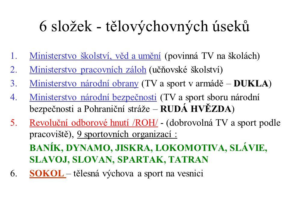 6 složek - tělovýchovných úseků 1.Ministerstvo školství, věd a umění (povinná TV na školách) 2.Ministerstvo pracovních záloh (učňovské školství) DUKLA