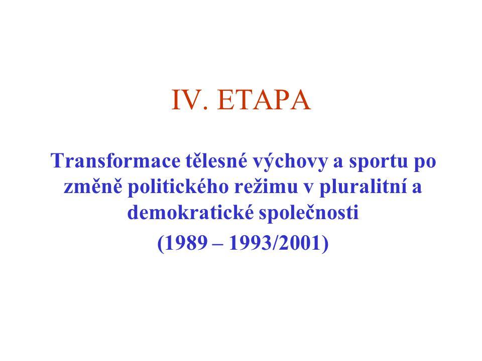 IV. ETAPA Transformace tělesné výchovy a sportu po změně politického režimu v pluralitní a demokratické společnosti (1989 – 1993/2001)