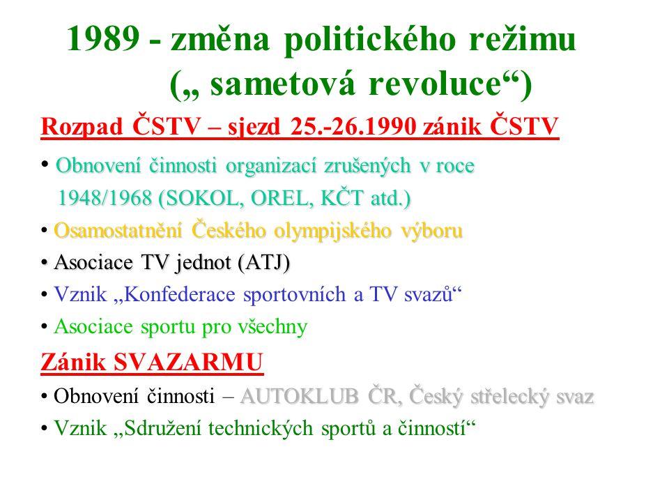 """1989 - změna politického režimu ("""" sametová revoluce ) Rozpad ČSTV – sjezd 25.-26.1990 zánik ČSTV Obnovení činnosti organizací zrušených v roce 1948/1968 (SOKOL, OREL, KČT atd.) 1948/1968 (SOKOL, OREL, KČT atd.) Osamostatnění Českého olympijského výboru Asociace TV jednot (ATJ) Asociace TV jednot (ATJ) Vznik """"Konfederace sportovních a TV svazů Asociace sportu pro všechny Zánik SVAZARMU AUTOKLUB ČR, Český střelecký svaz Obnovení činnosti – AUTOKLUB ČR, Český střelecký svaz Vznik """"Sdružení technických sportů a činností"""