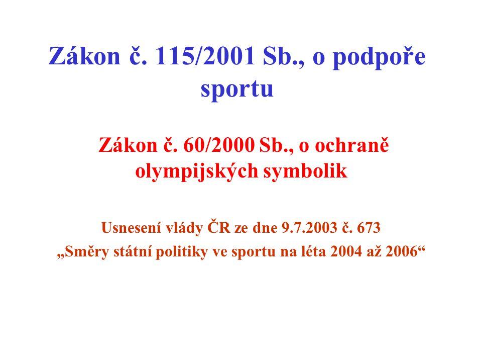 Zákon č.115/2001 Sb., o podpoře sportu Zákon č.