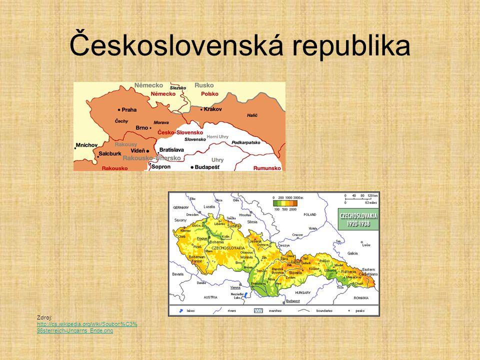 Československá republika Zdroj: http://cs.wikipedia.org/wiki/Soubor:%C3% 96sterreich-Ungarns_Ende.png http://cs.wikipedia.org/wiki/Soubor:%C3% 96sterreich-Ungarns_Ende.png