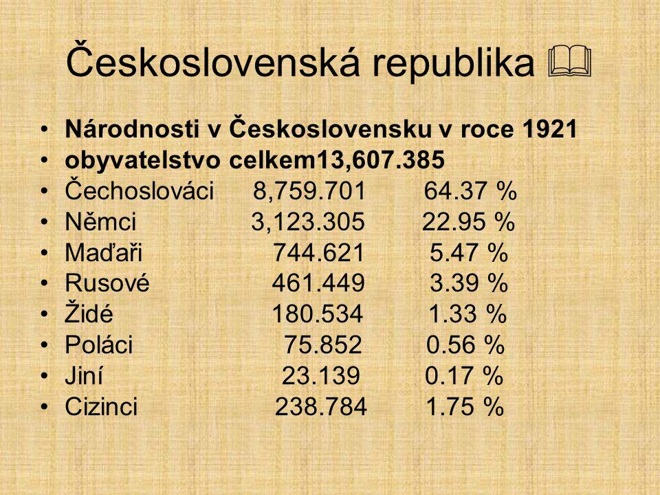 Československá republika  Národnosti v Československu v roce 1921 obyvatelstvo celkem13,607.385 Čechoslováci 8,759.701 64.37 % Němci 3,123.305 22.95 % Maďaři 744.621 5.47 % Rusové 461.449 3.39 % Židé 180.534 1.33 % Poláci 75.852 0.56 % Jiní 23.139 0.17 % Cizinci 238.784 1.75 %