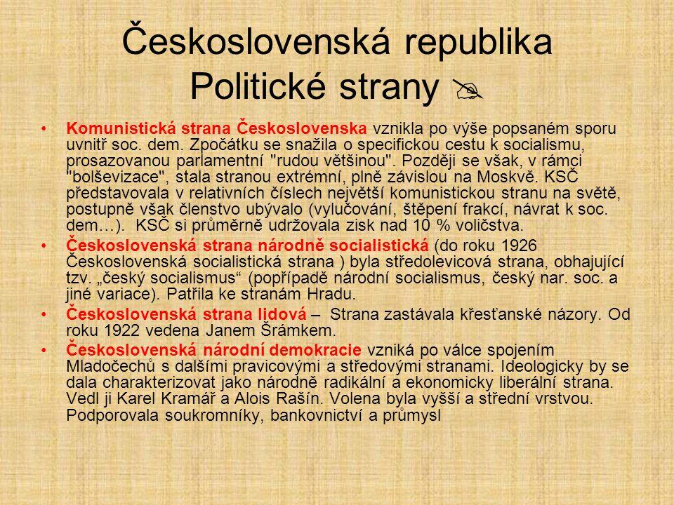 Československá republika Politické strany  Komunistická strana Československa vznikla po výše popsaném sporu uvnitř soc.