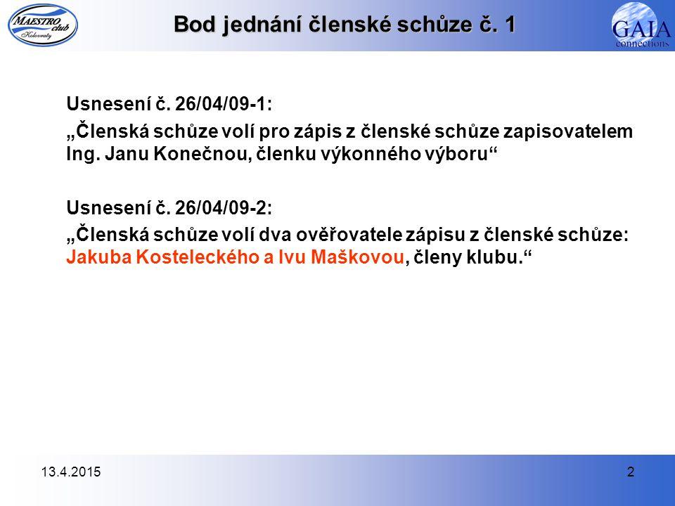 13.4.20153 Bod jednání členské schůze č.1 Usnesení č.