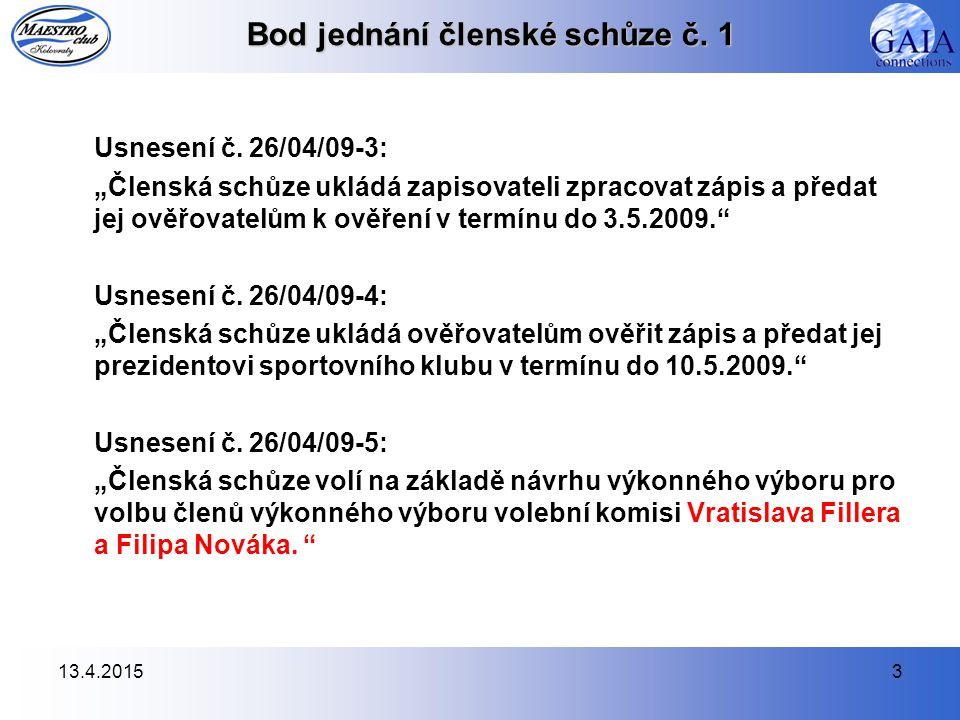 13.4.20154 Bod jednání členské schůze č.2 Usnesení č.