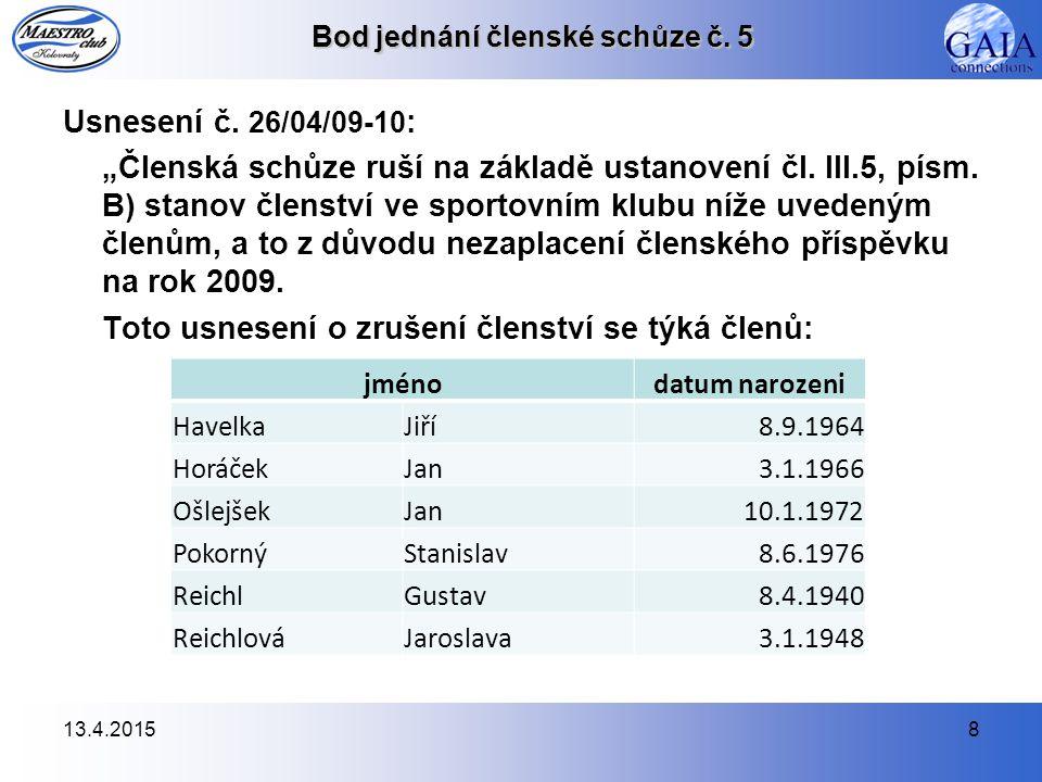 13.4.20159 Bod jednání členské schůze č.6 Usnesení č.