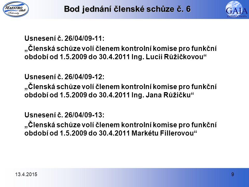 13.4.201510 Bod jednání členské schůze č.6 Usnesení č.