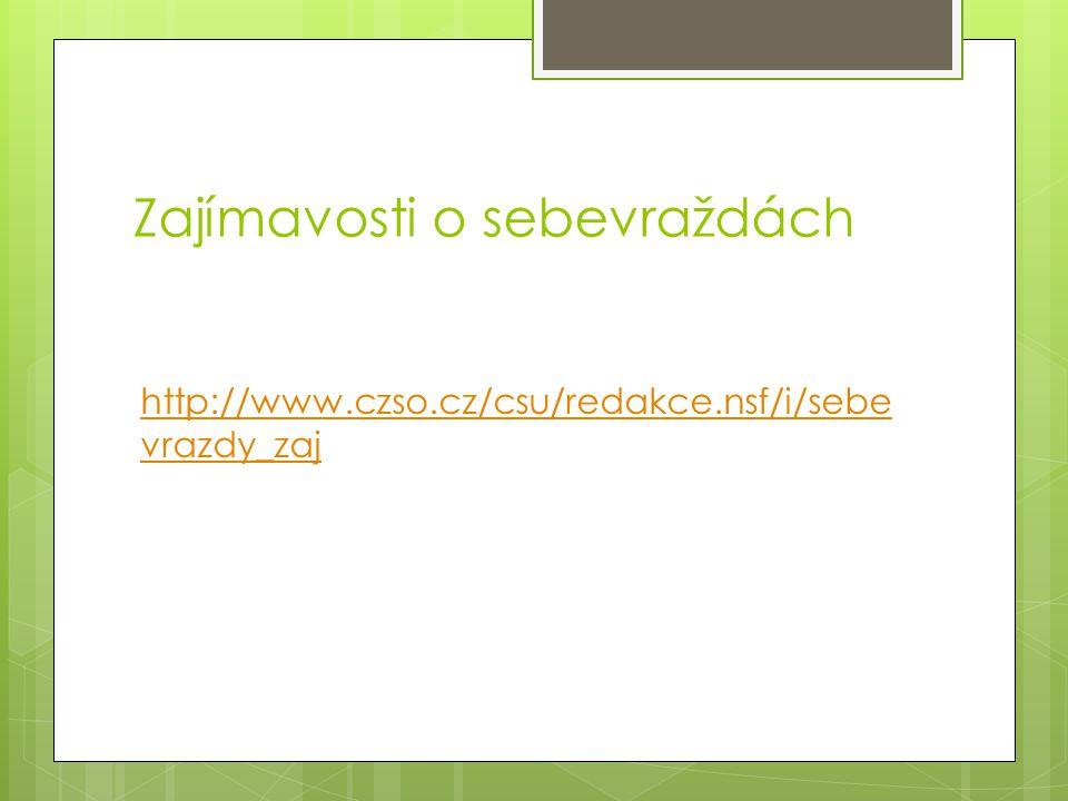 Zajímavosti o sebevraždách http://www.czso.cz/csu/redakce.nsf/i/sebe vrazdy_zaj