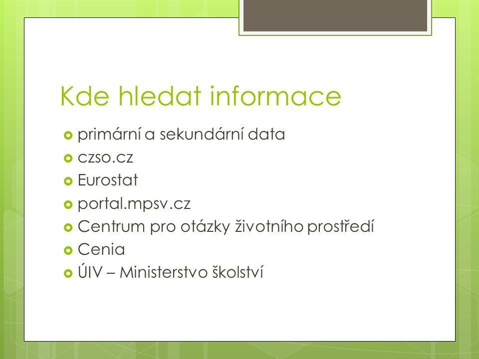 Kde hledat informace  primární a sekundární data  czso.cz  Eurostat  portal.mpsv.cz  Centrum pro otázky životního prostředí  Cenia  ÚIV – Minis