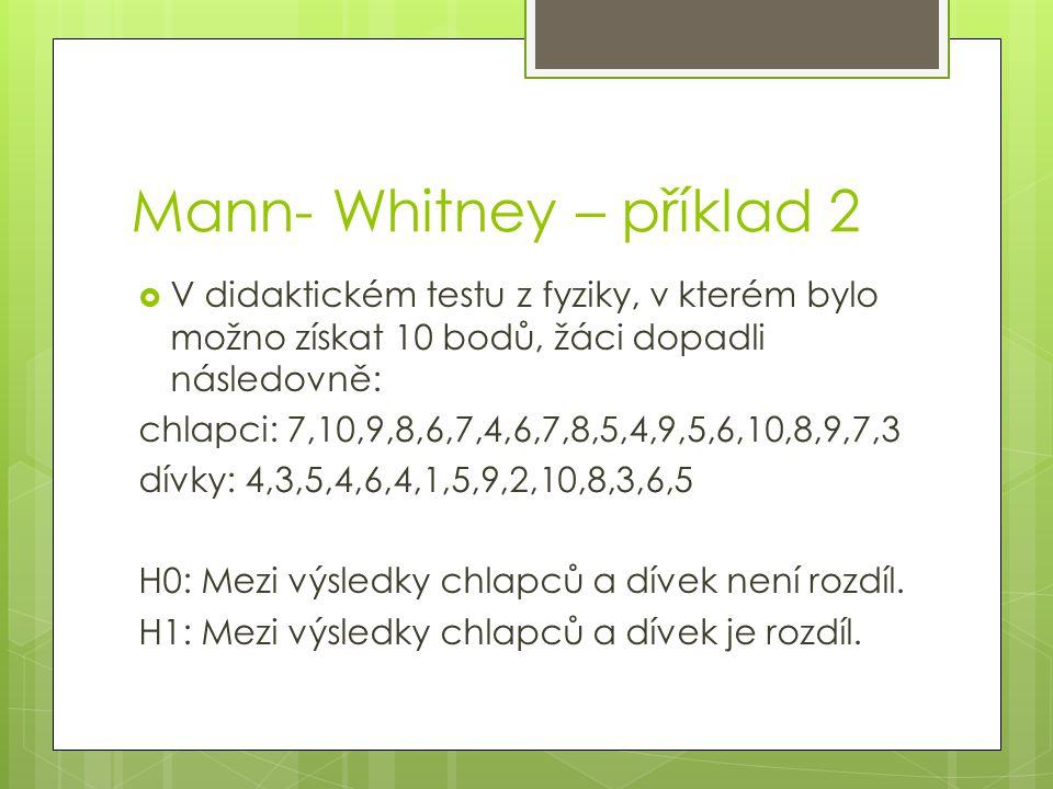 Mann- Whitney – příklad 2  V didaktickém testu z fyziky, v kterém bylo možno získat 10 bodů, žáci dopadli následovně: chlapci: 7,10,9,8,6,7,4,6,7,8,5