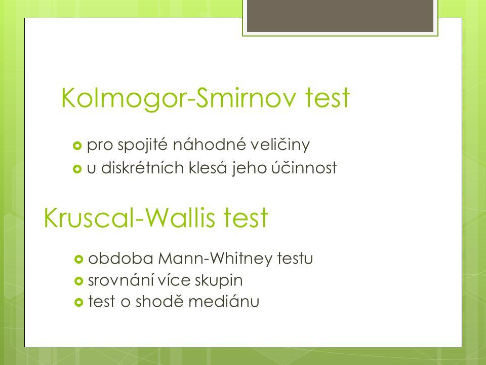 Kolmogor-Smirnov test  obdoba Mann-Whitney testu  srovnání více skupin  test o shodě mediánu Kruscal-Wallis test  pro spojité náhodné veličiny  u