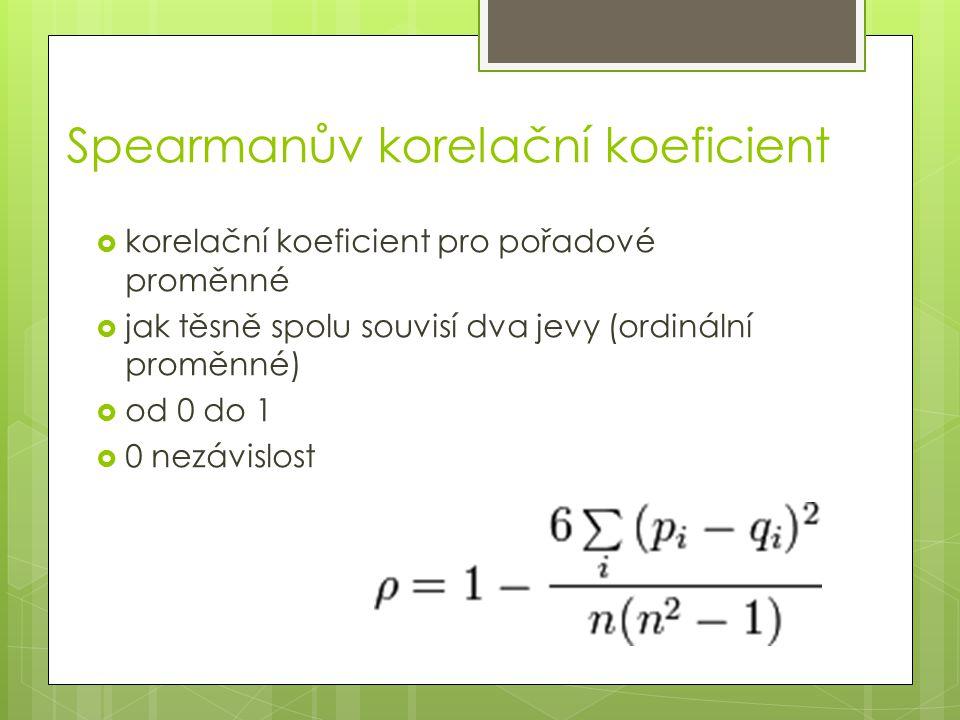 Spearmanův korelační koeficient  korelační koeficient pro pořadové proměnné  jak těsně spolu souvisí dva jevy (ordinální proměnné)  od 0 do 1  0 n