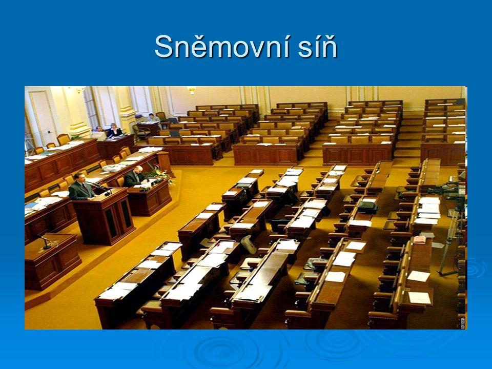 Poslanecká sněmovna  Často se též označuje Sněmovna  Tvoří ji 200 poslanců volených na 4 roky systémem poměrného (proporcionálního) zastoupení