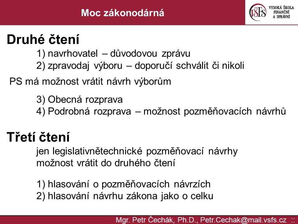 Mgr. Petr Čechák, Ph.D., Petr.Cechak@mail.vsfs.cz :: Moc zákonodárná Druhé čtení 1) navrhovatel – důvodovou zprávu 2) zpravodaj výboru – doporučí schv