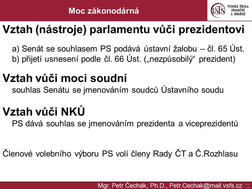 Mgr. Petr Čechák, Ph.D., Petr.Cechak@mail.vsfs.cz :: Moc zákonodárná Vztah (nástroje) parlamentu vůči prezidentovi a) Senát se souhlasem PS podává úst