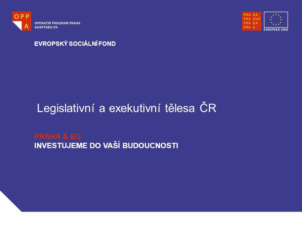 Legislativní a exekutivní tělesa ČR EVROPSKÝ SOCIÁLNÍ FOND PRAHA & EU INVESTUJEME DO VAŠÍ BUDOUCNOSTI