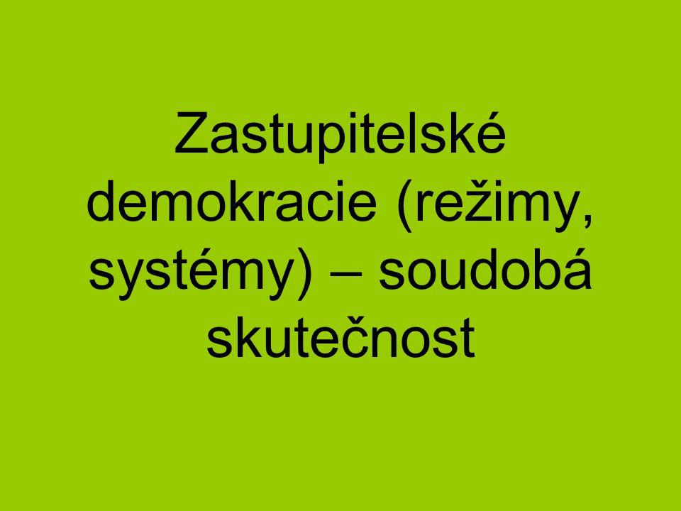 Existují dva hlavní druhy zastupitelských demokracií: prezidentské a parlamentní Základní rozlišení obou druhů spočívá v odlišném rozdělení kompetencí a vzájemných vztahů exekutivy (moci výkonné) a legislativy (moci zákonodárné) Pozn.: judikativa (moc soudní) je v obou modelech oddělena od jiných mocí