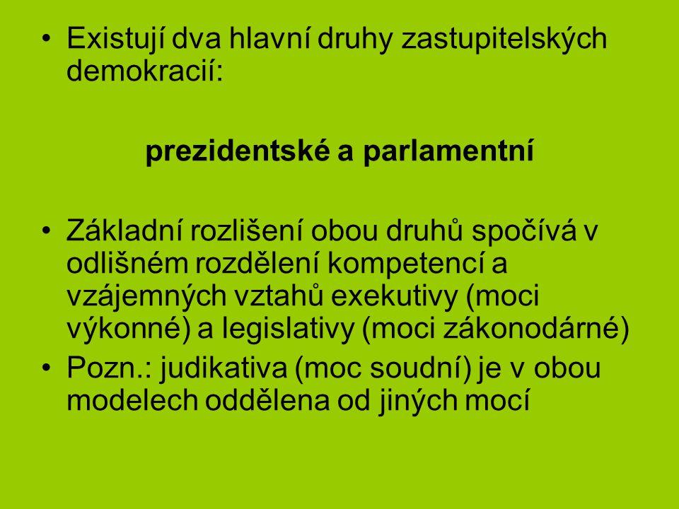 Existují dva hlavní druhy zastupitelských demokracií: prezidentské a parlamentní Základní rozlišení obou druhů spočívá v odlišném rozdělení kompetencí