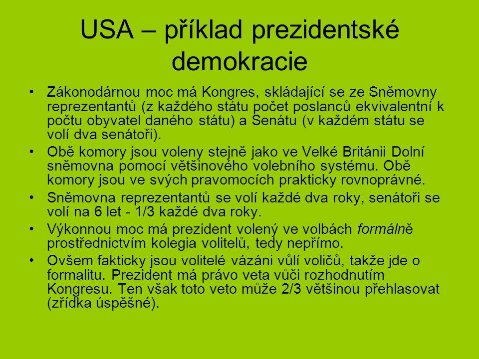 USA – příklad prezidentské demokracie Zákonodárnou moc má Kongres, skládající se ze Sněmovny reprezentantů (z každého státu počet poslanců ekvivalentn