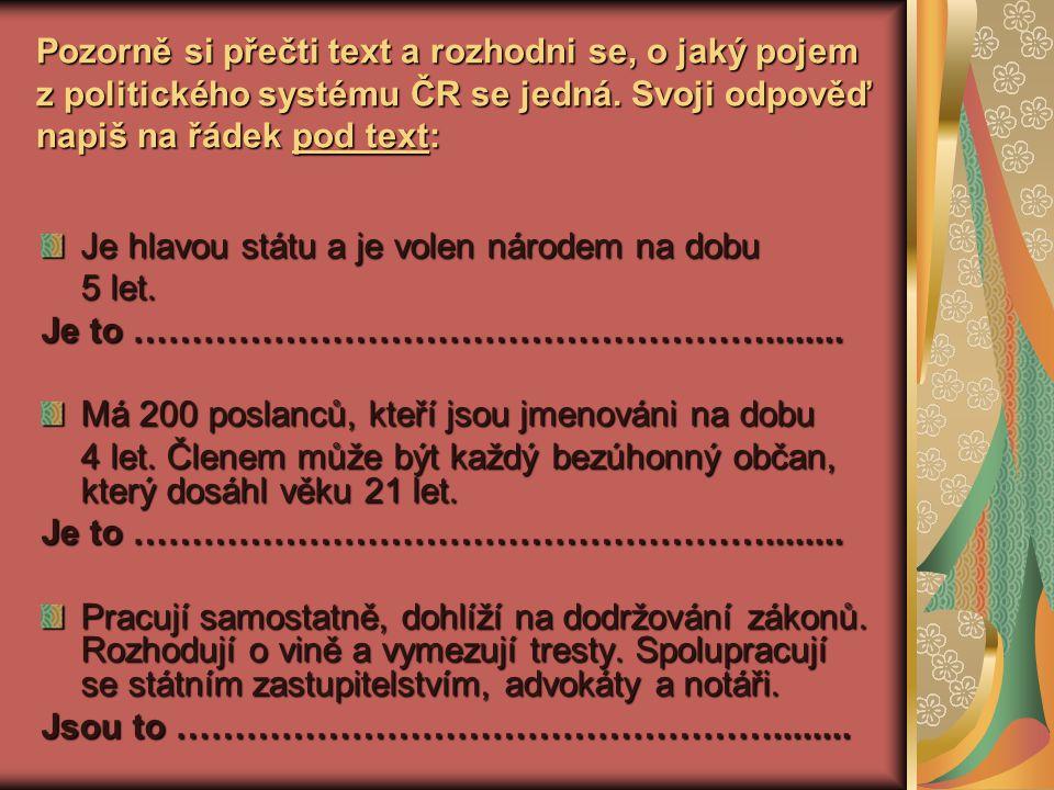 Pozorně si přečti text a rozhodni se, o jaký pojem z politického systému ČR se jedná.