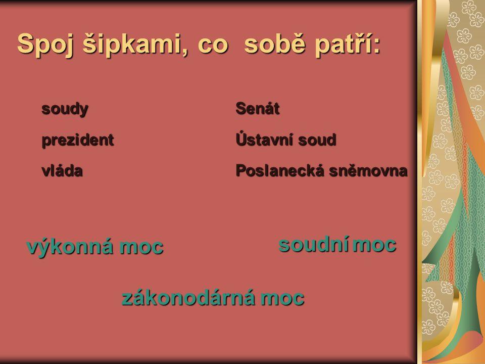 Spoj šipkami, co sobě patří: soudySenát prezidentÚstavní soud vládaPoslanecká sněmovna výkonná moc zákonodárná moc soudní moc