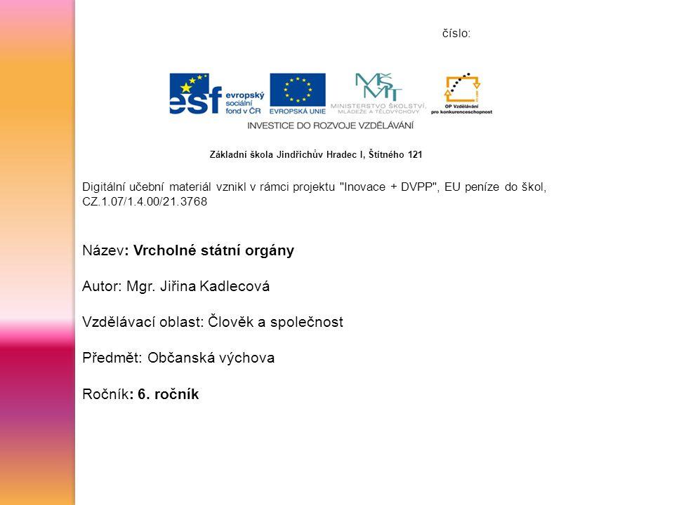 číslo: Digitální učební materiál vznikl v rámci projektu Inovace + DVPP , EU peníze do škol, CZ.1.07/1.4.00/21.3768 Název: Vrcholné státní orgány Autor: Mgr.