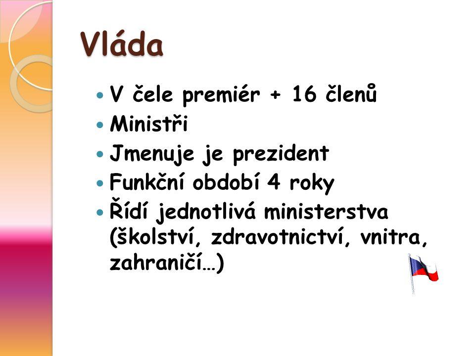 Vláda V čele premiér + 16 členů Ministři Jmenuje je prezident Funkční období 4 roky Řídí jednotlivá ministerstva (školství, zdravotnictví, vnitra, zahraničí…)