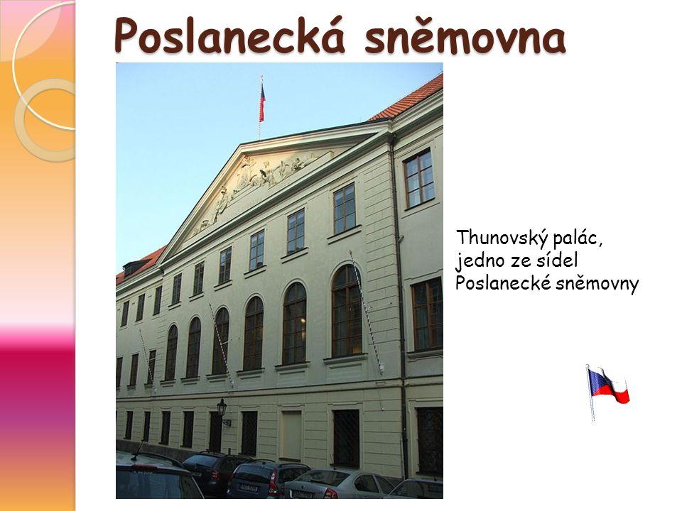 Poslanecká sněmovna Thunovský palác, jedno ze sídel Poslanecké sněmovny