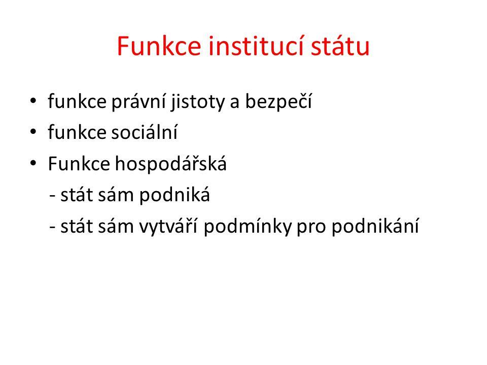 Funkce institucí státu funkce právní jistoty a bezpečí funkce sociální Funkce hospodářská - stát sám podniká - stát sám vytváří podmínky pro podnikání