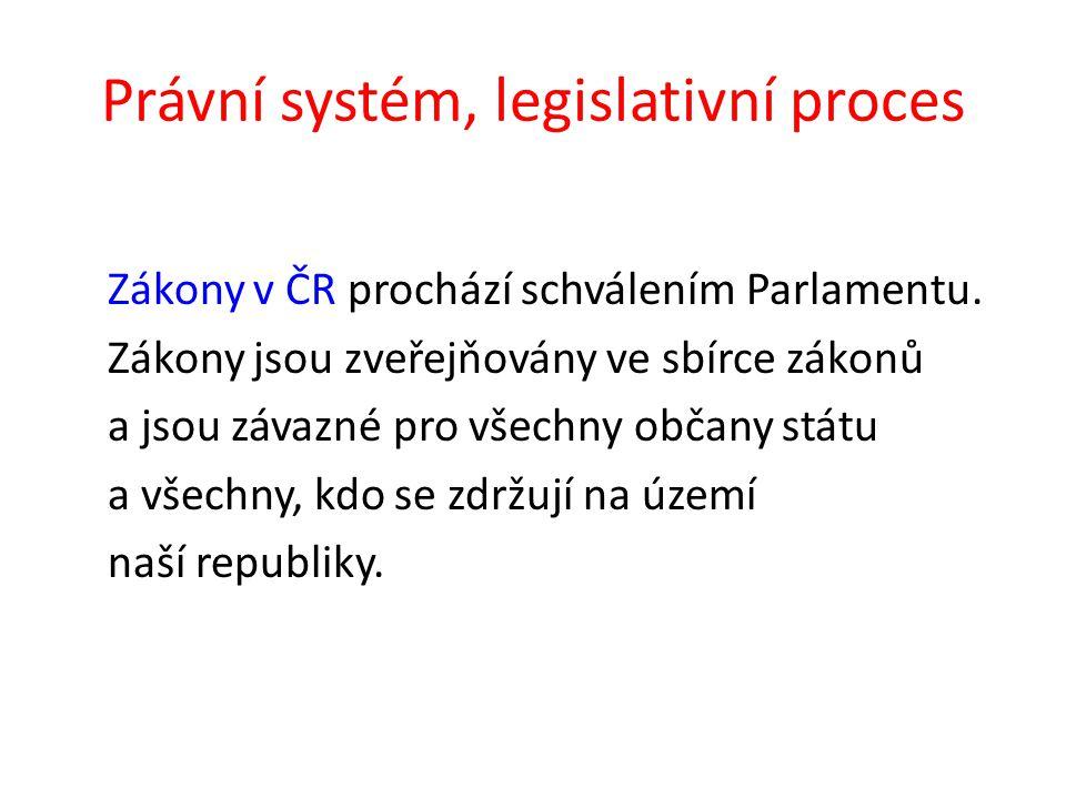 Právní systém, legislativní proces Zákony v ČR prochází schválením Parlamentu.