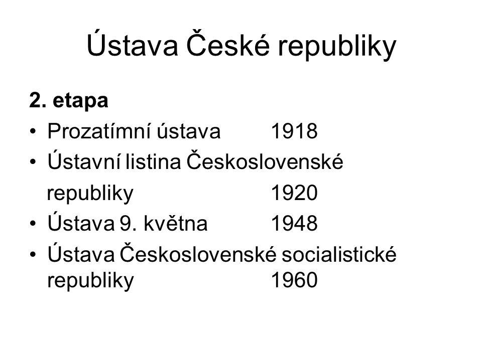 Ústava České republiky 2. etapa Prozatímní ústava1918 Ústavní listina Československé republiky1920 Ústava 9. května1948 Ústava Československé socialis
