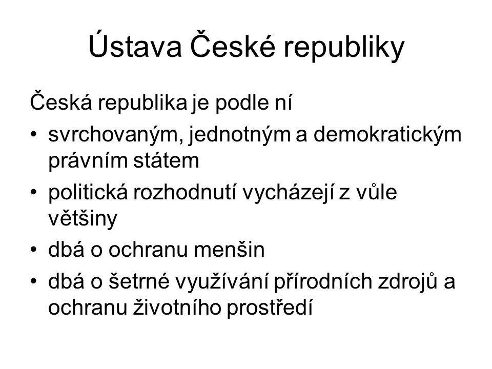 Ústava České republiky Česká republika je podle ní svrchovaným, jednotným a demokratickým právním státem politická rozhodnutí vycházejí z vůle většiny