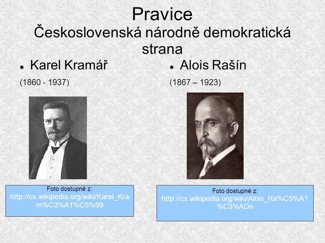 Pravice Československá národně demokratická strana Karel Kramář (1860 - 1937) Alois Rašín (1867 – 1923) Foto dostupné z : http://cs.wikipedia.org/wiki/Karel_Kra m%C3%A1%C5%99 Foto dostupné z: http://cs.wikipedia.org/wiki/Alois_Ra%C5%A1 %C3%ADn