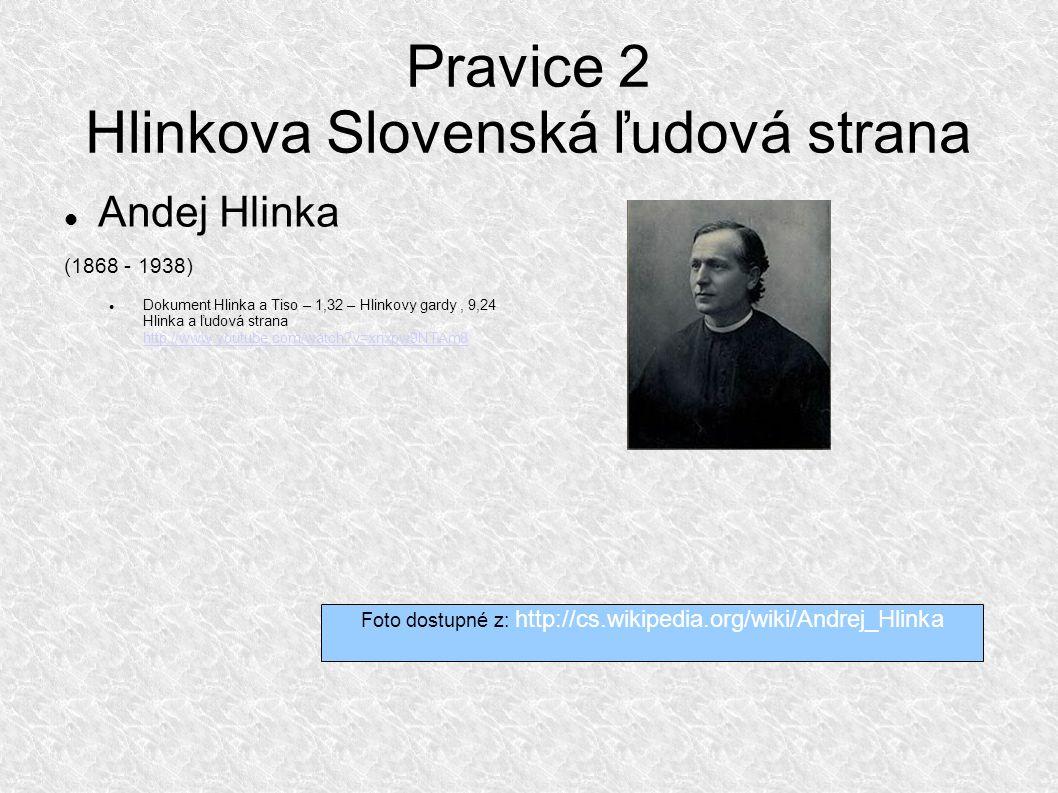Pravice 2 Hlinkova Slovenská ľudová strana Andej Hlinka (1868 - 1938) Dokument Hlinka a Tiso – 1,32 – Hlinkovy gardy, 9,24 Hlinka a ľudová strana http://www.youtube.com/watch v=xnxpw9NTAm8 http://www.youtube.com/watch v=xnxpw9NTAm8 Foto dostupné z: http://cs.wikipedia.org/wiki/Andrej_Hlinka