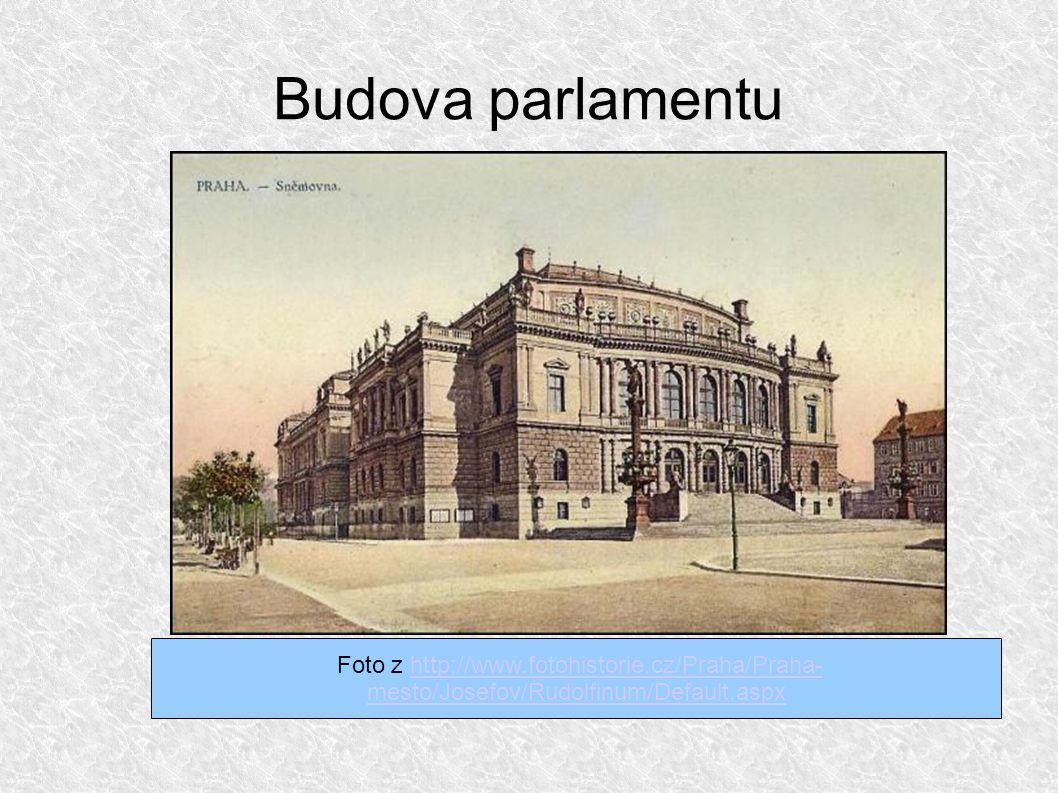 Budova parlamentu Foto z http://www.fotohistorie.cz/Praha/Praha- mesto/Josefov/Rudolfinum/Default.aspxhttp://www.fotohistorie.cz/Praha/Praha- mesto/Josefov/Rudolfinum/Default.aspx