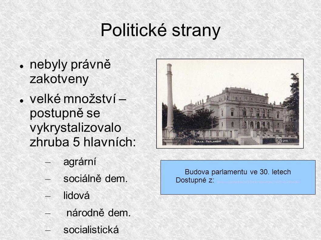Politické strany nebyly právně zakotveny velké množství – postupně se vykrystalizovalo zhruba 5 hlavních: – agrární – sociálně dem.