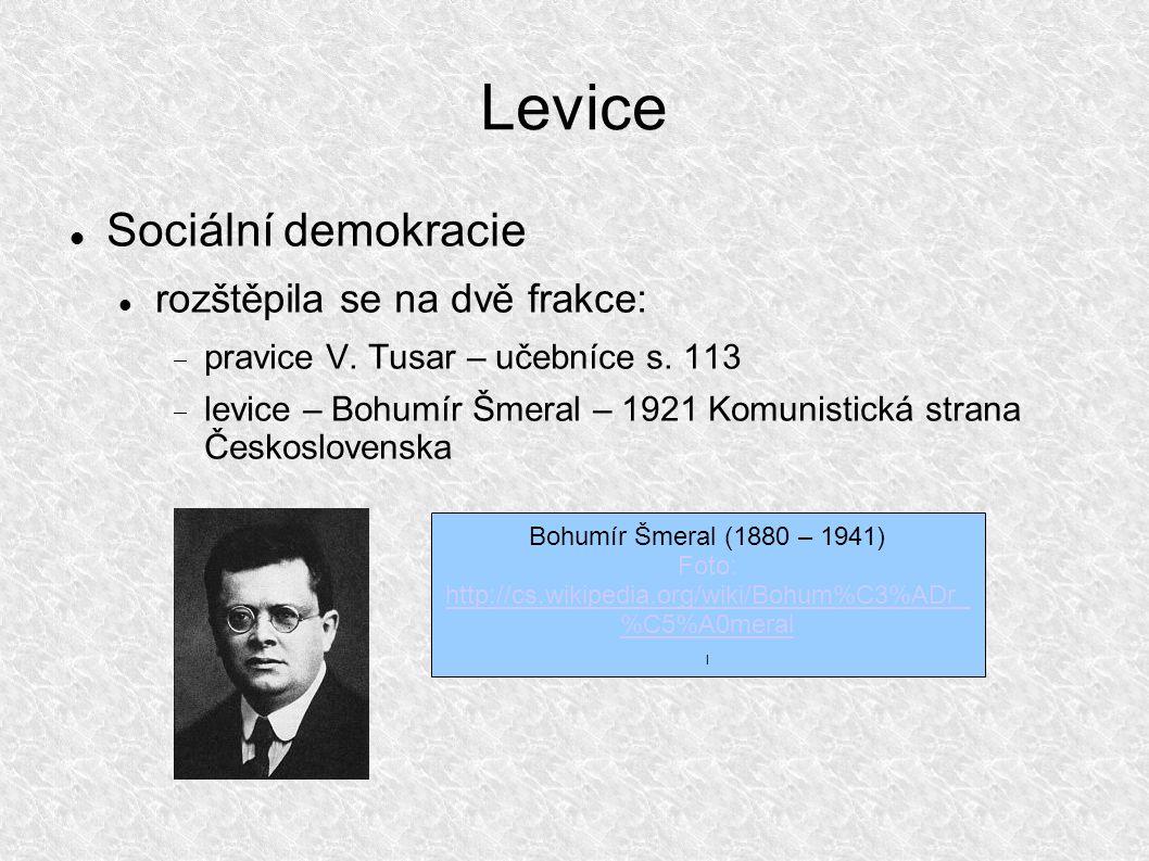 Levice Sociální demokracie rozštěpila se na dvě frakce:  pravice V.