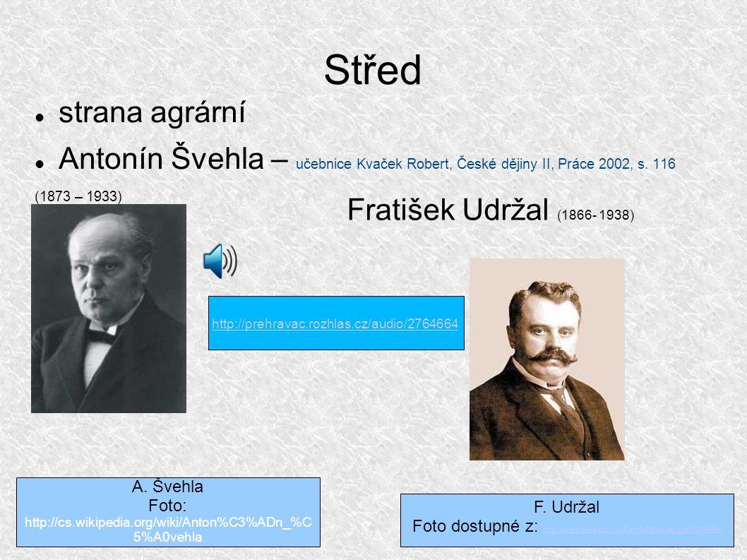 Střed strana agrární Antonín Švehla – učebnice Kvaček Robert, České dějiny II, Práce 2002, s.