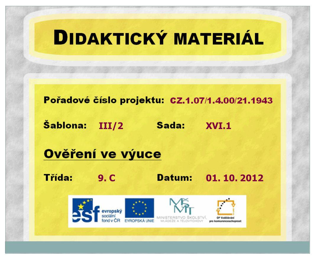 III/2 9. C XVI.1 01. 10. 2012